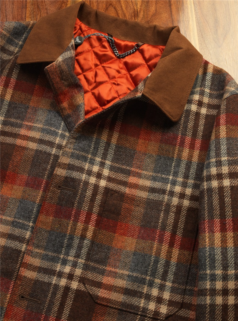 Wool Blanket Coat in Autumn Plaid