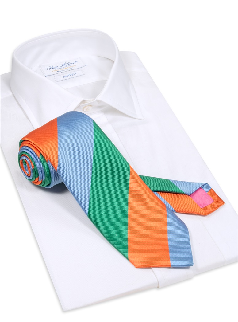 Woven Block Stripe Tie in Teal, Tangerine and Sky