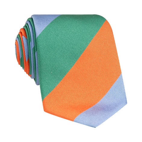 Woven Block Stripe Tie in Teal, Tangerine and Sky