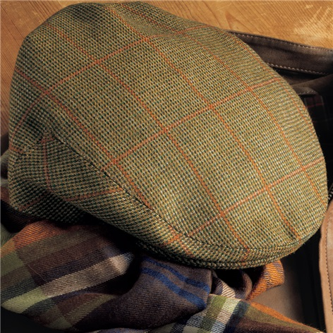 Wool Garforth Cap in Olive Birdseye with Rust Windowpanes