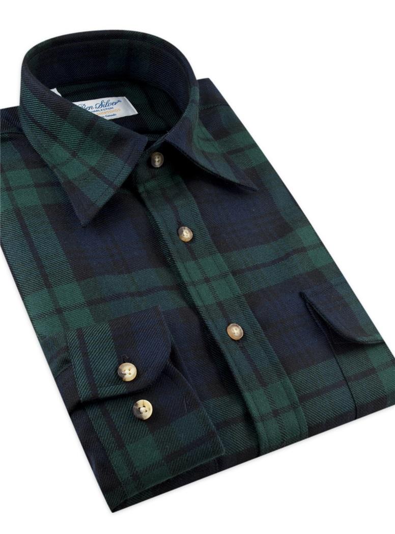 Wool Tartan Overshirt in Black Watch