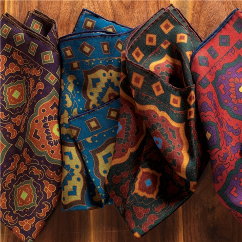 Wool and Silk Medallion Motif Printed Pocket Squares