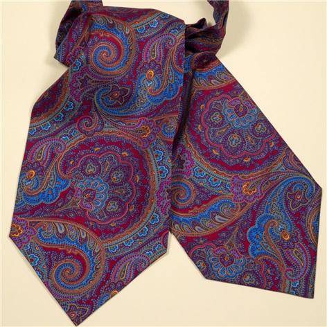 Silk Paisley Printed Ascot in Violet