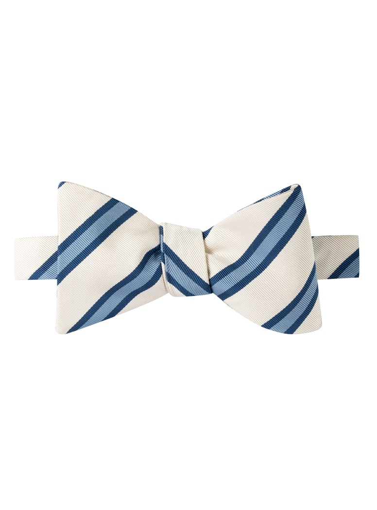 Mogador Striped Bow Tie in White
