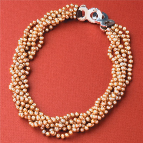 Pink Dyed Pearls Necklace