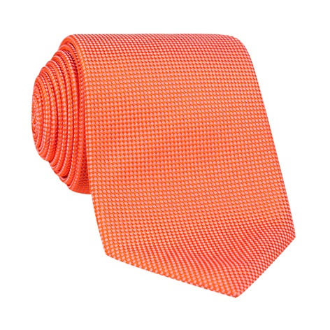 Silk Basketweave Tie in Tangerine