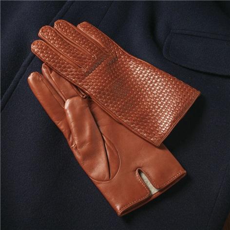 Cognac Nappa Leather Basketweave Gloves