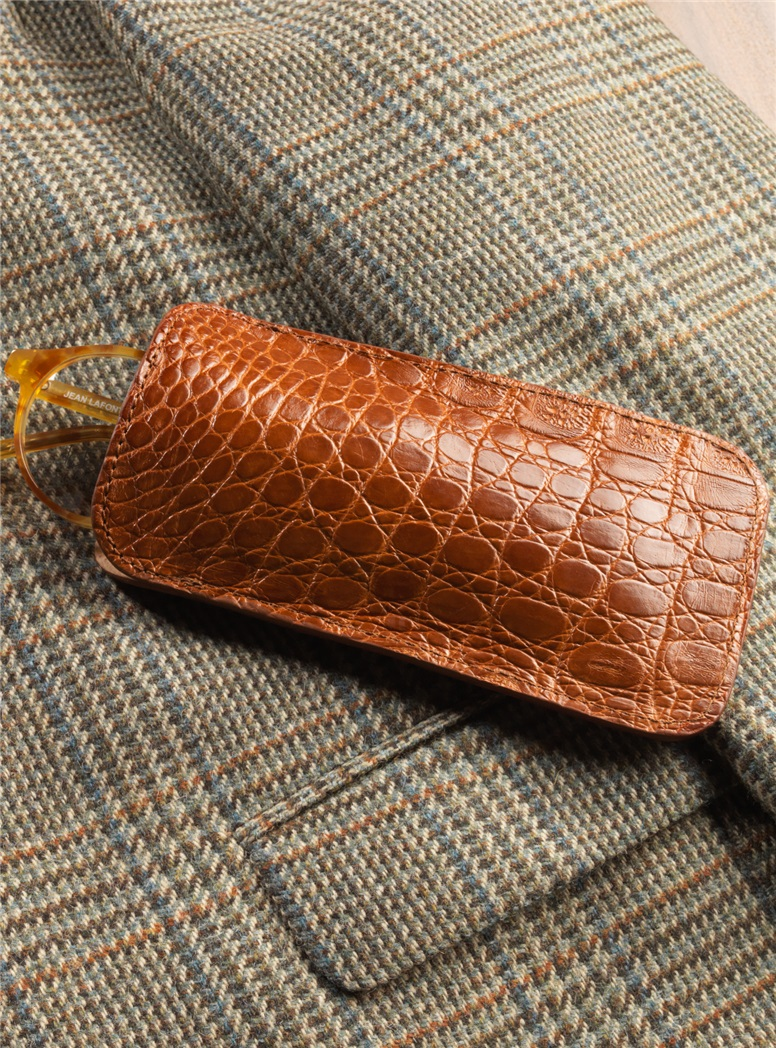 Crocodile Eyeglass Case in Cognac