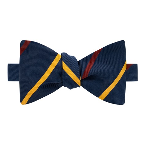 Mogador Double Bar Striped Bow Tie in Navy