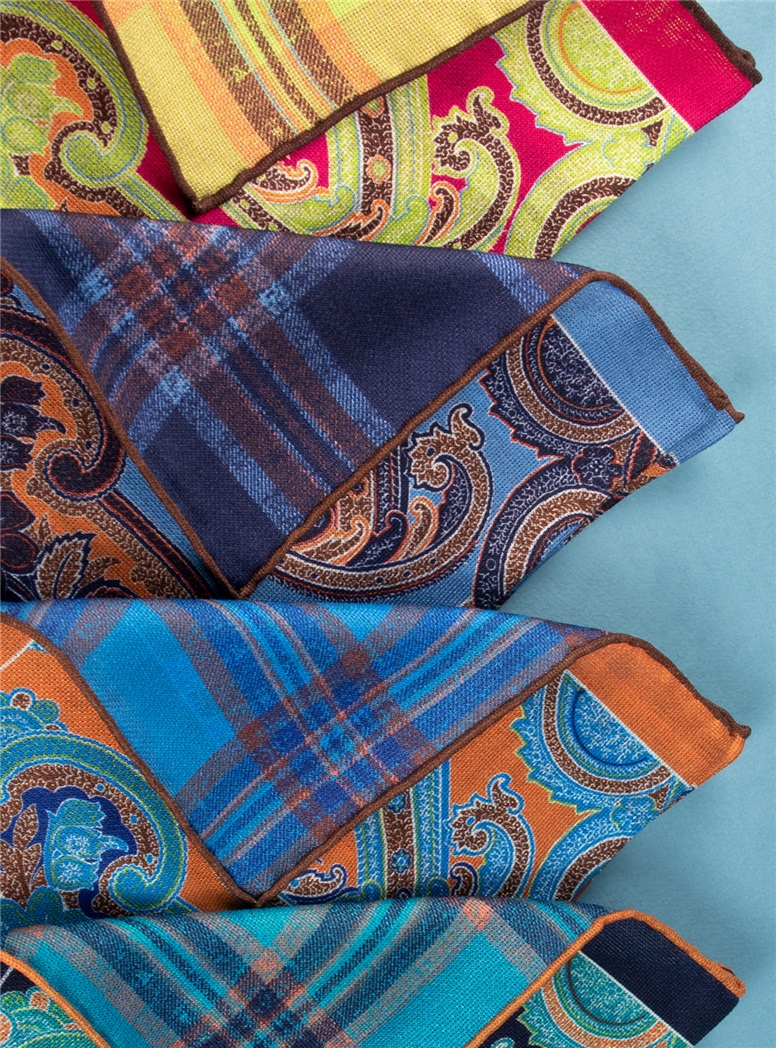 Paisley and Plaid Reversible Pocket Squares