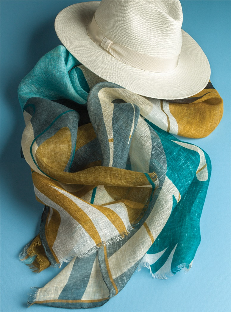 Linen Palm Print Scarf in Green & Amber