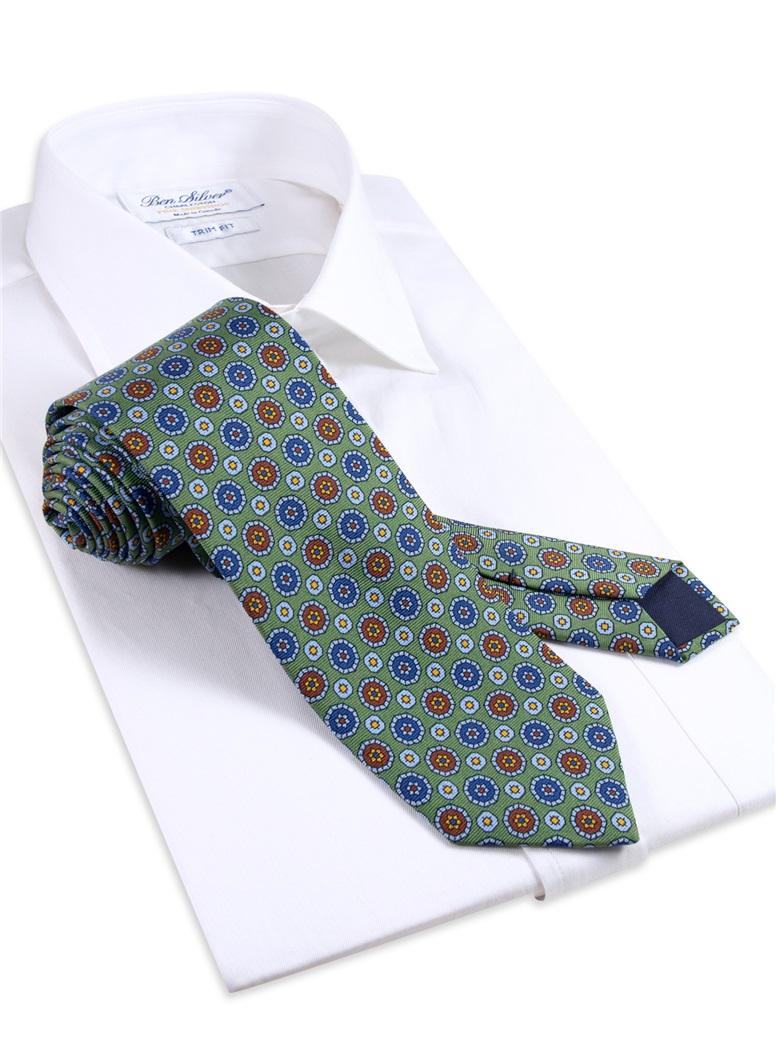 Silk Neat Print Tie in Sage
