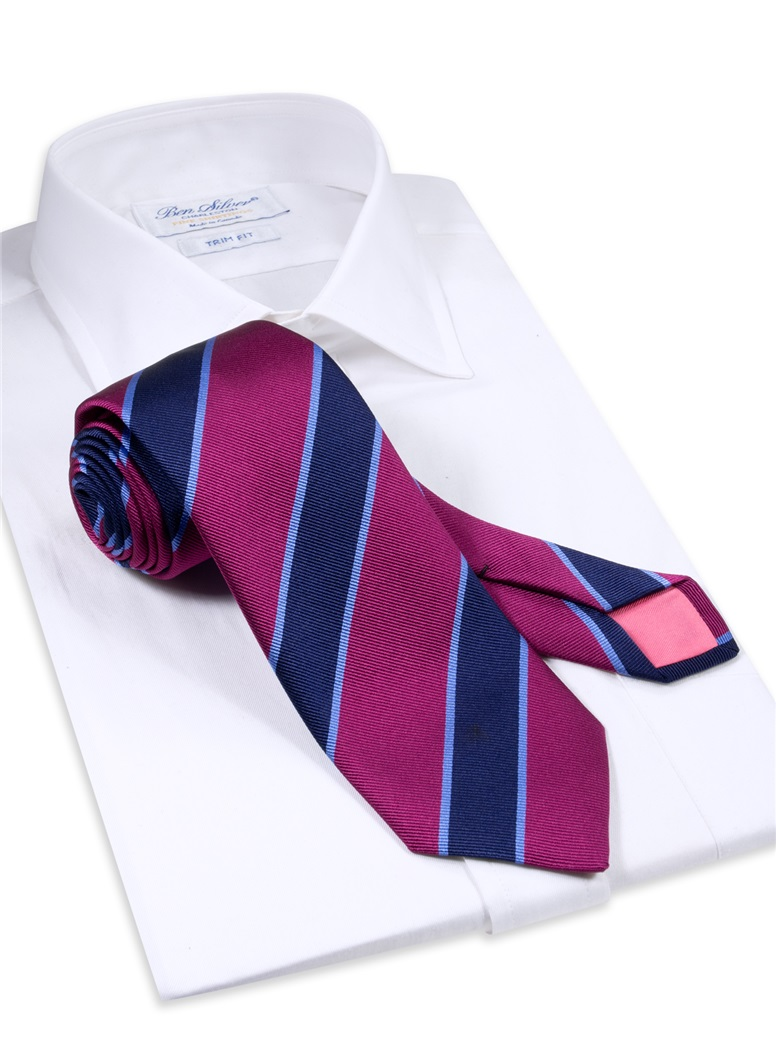 Silk Striped Tie in Magenta and Navy