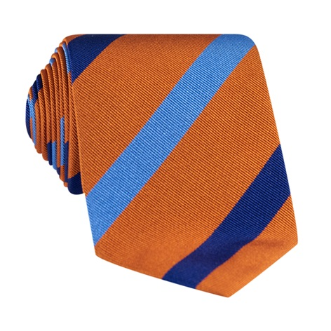 Silk Multi Stripe Tie in Tangerine