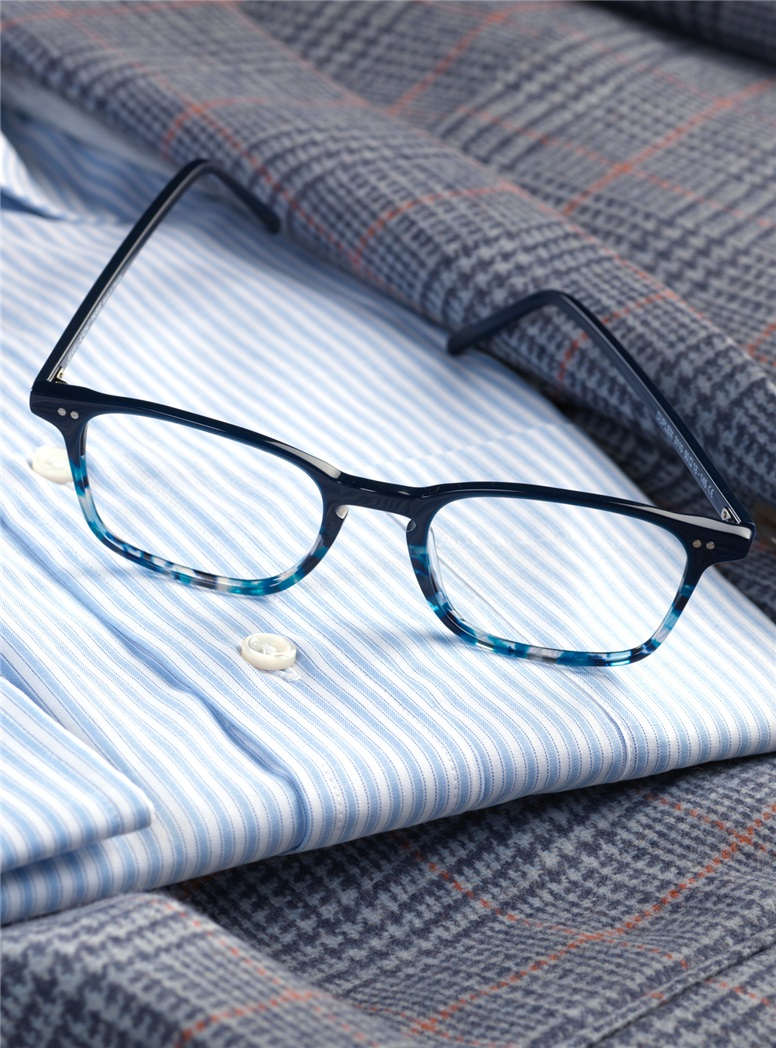 Slim Rectangular Frame in Navy with Blue Tortoise