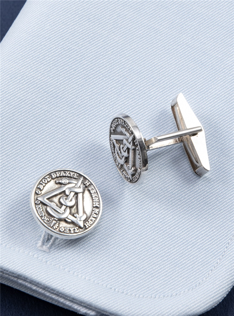 Dental Caduceus Cufflinks in Sterling Silver