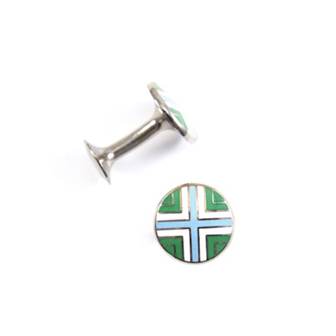 Green, Blue and White Cross Cufflinks