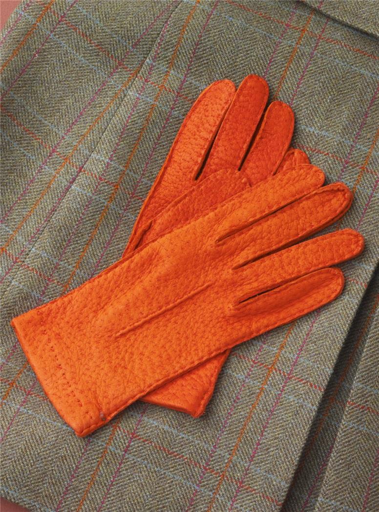 Orange Peccary Unlined Gloves