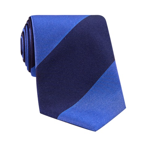 Silk Block Stripe Tie in Cobalt and Navy