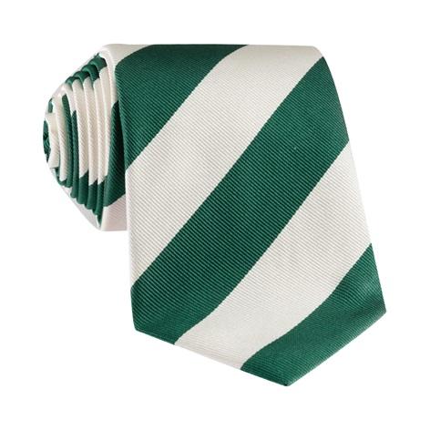 Silk Block Stripe Tie in Leaf