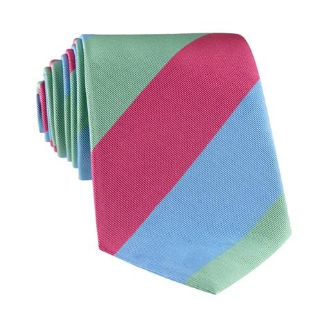 Mogador Block Stripe Tie in Azalea, Sage and Sky