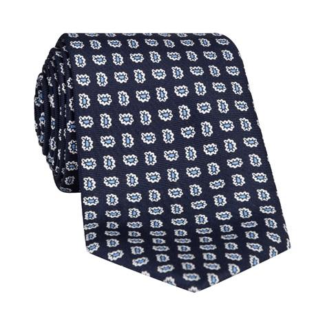 Silk Droplet Paisley Printed Tie in Navy
