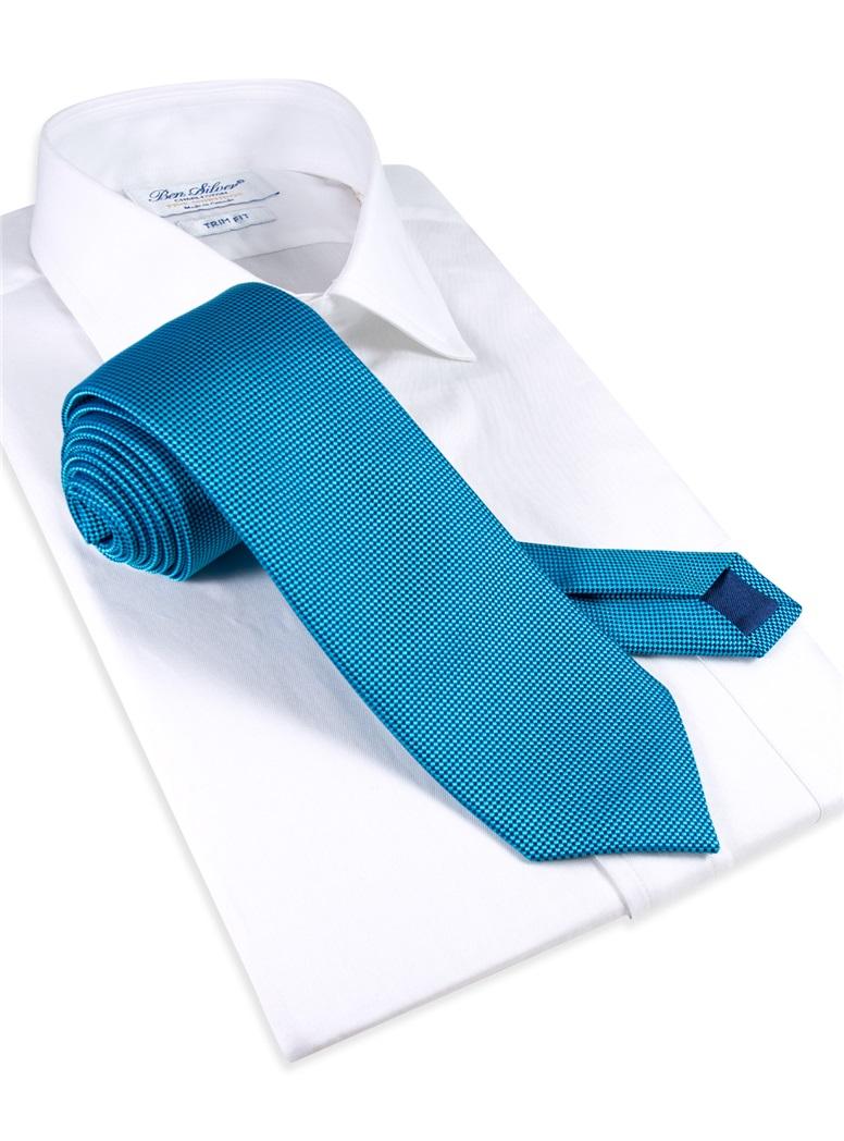 Silk Basketweave Tie in Teal