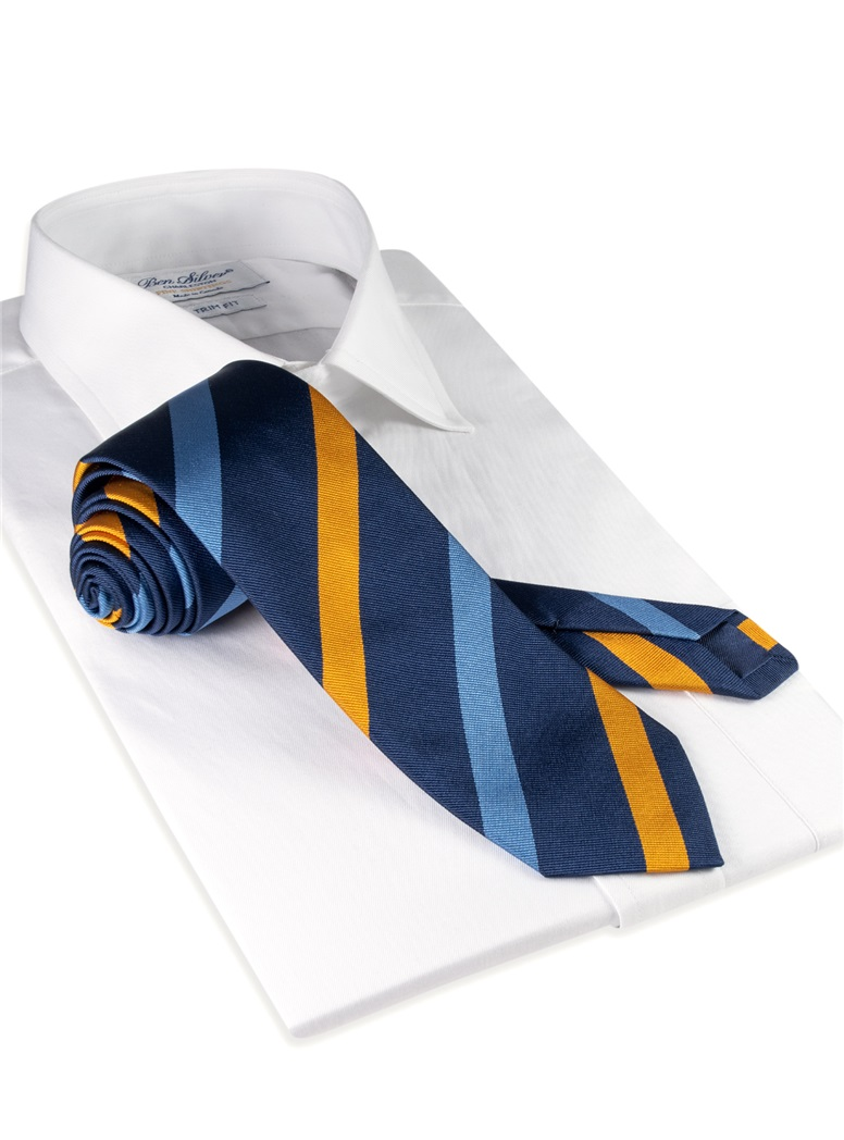 Silk Multi Stripe Tie in Navy and Gold