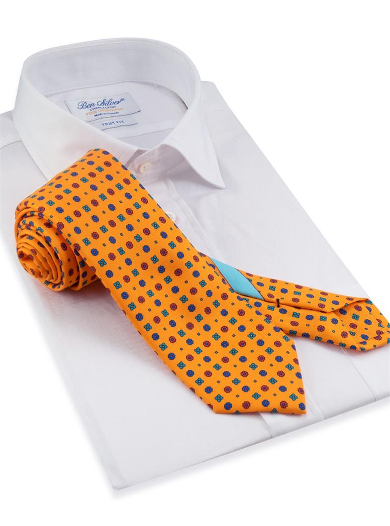 Silk Neat Printed Tie in Marigold