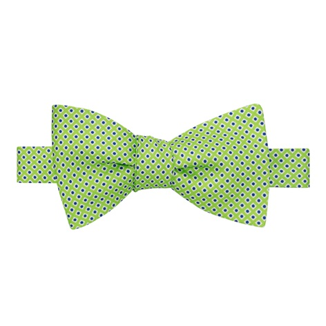 Silk Printed Dots Bow Tie in Lime