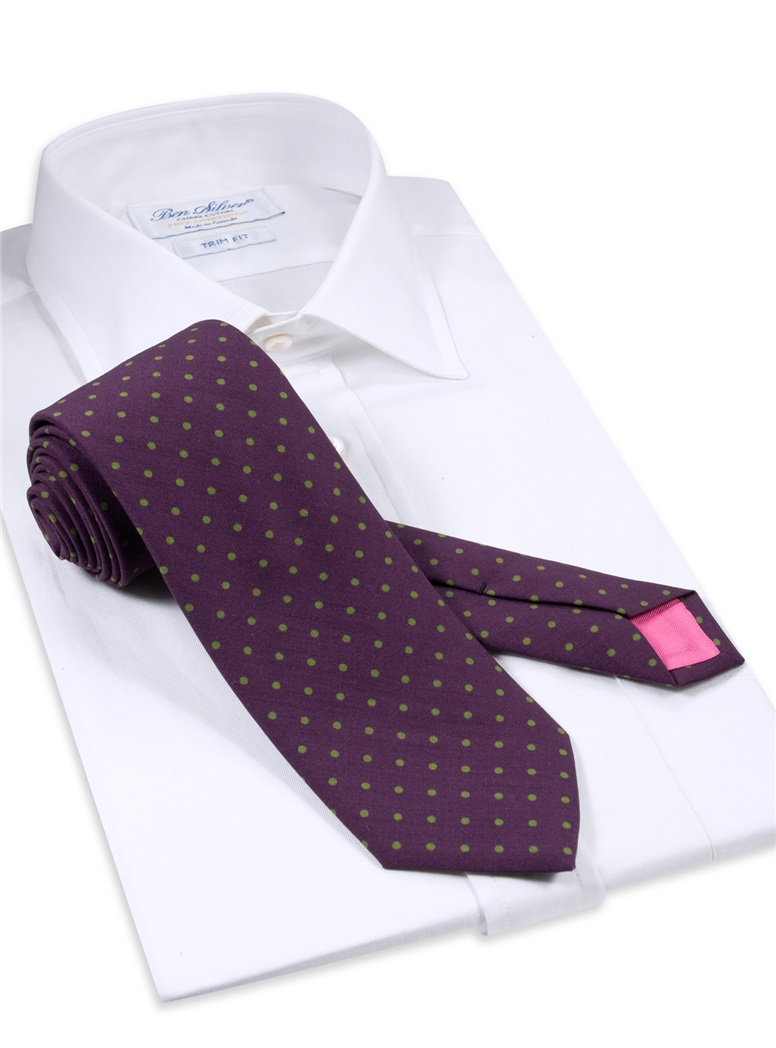 Wool Printed Dots Tie in Plum with Lime