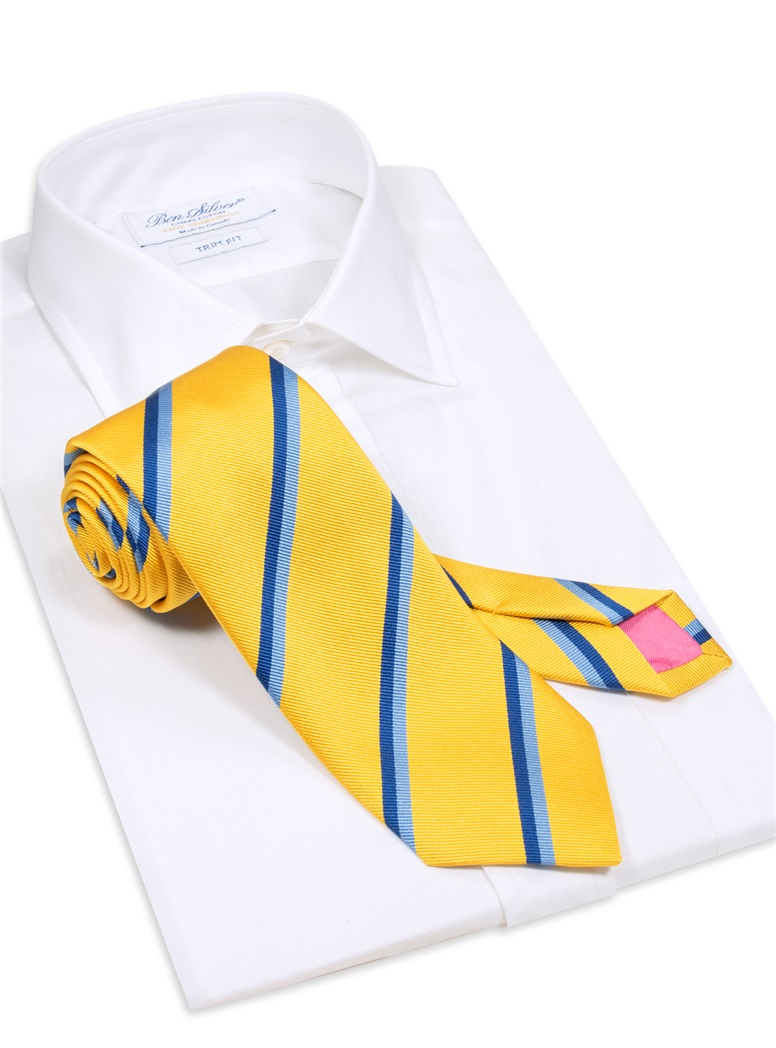 Silk Double Stripe Tie in Sun