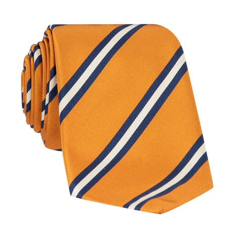 Silk Striped Tie in Marigold