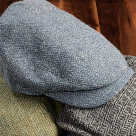 Wool Aberford Cap in Sky Blue Herringbone