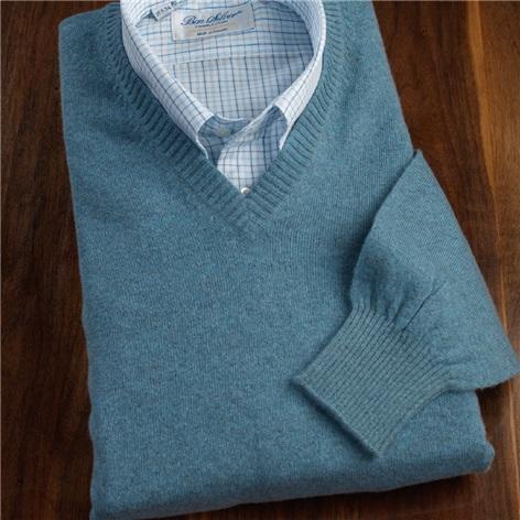 Cashmere V-neck Sweater in Mediterranean