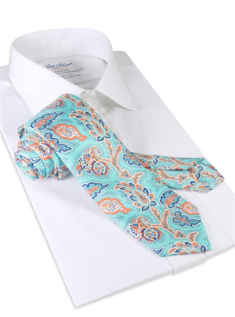 Silk Leaf Paisley Print Tie in Mint