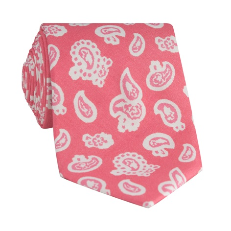 Silk Paisley Printed Tie in Strawberry
