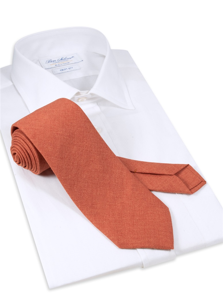 Silk and Cashmere Solid Tie in Coral