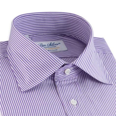 170'S Purple and White Bengal Stripe Spread Collar