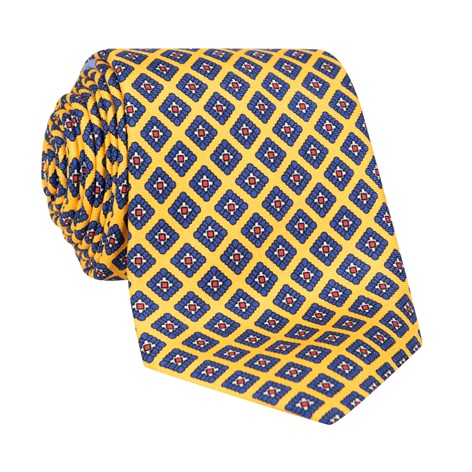 Silk Diamond Printed Tie in Sun