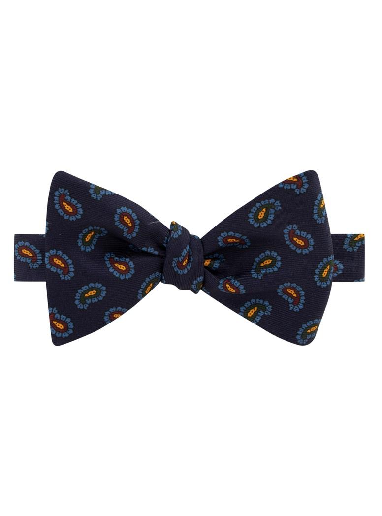 Silk Paisley Printed Bow Tie in Navy