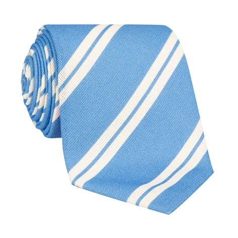 Silk Panama Weave Striped Tie in Sky