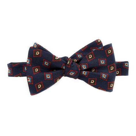 Silk Diamond Paisley Printed Bow Tie in Navy
