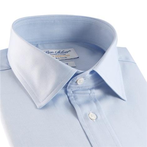 Classic Blue Twill Spread Collar in Trim Fit