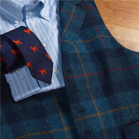 Regal and Navy Plaid Harris Tweed Waistcoat