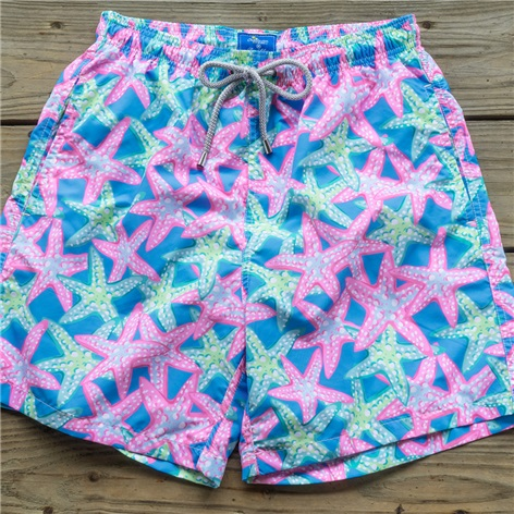 Starfish Print Trunks in Azure