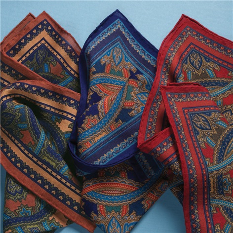 Wool and Silk Medallion Printed Pocket Squares