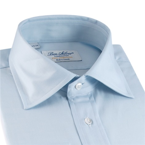 Classic Blue Twill Spread Collar with French Cuffs