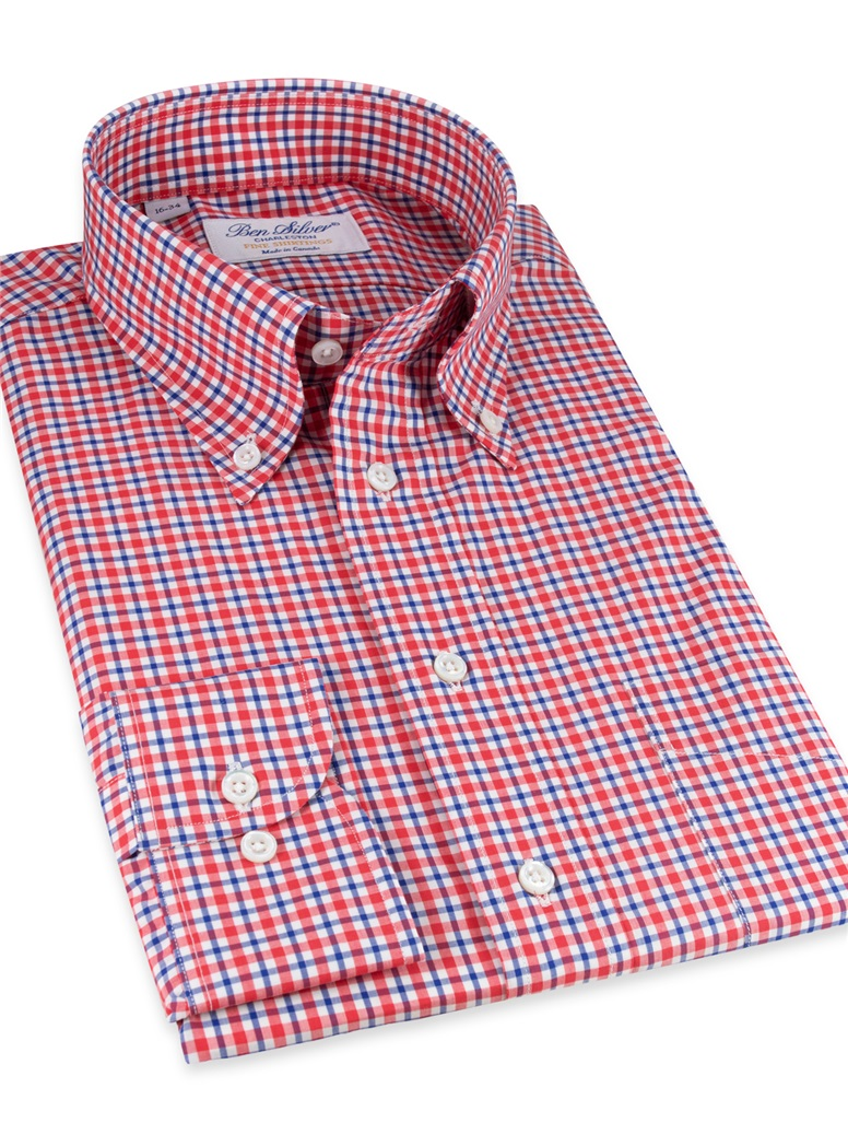 Red, Blue, and White Plaid Buttondown
