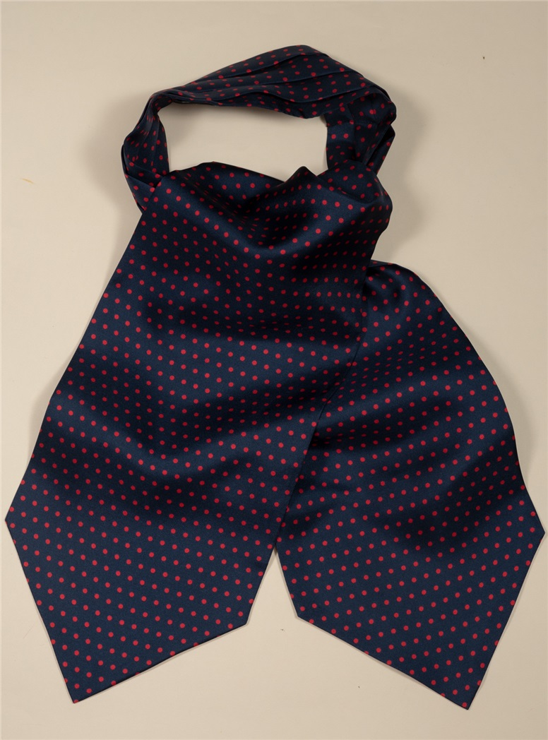 Silk Printed Dots Ascot in Navy with Wine